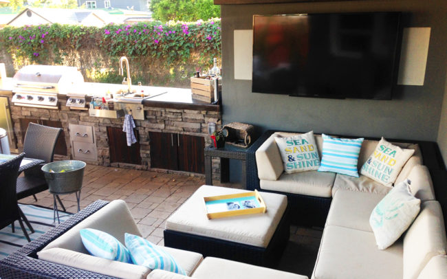 Backyard bbq seating tv