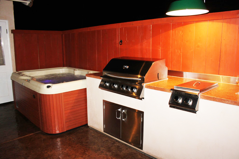 residential outdoor bbq hot tub