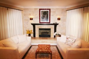 residential living room fireplace